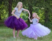 Full Length Tutu - Girls Long SEWN Tutu - Flowergirl tulle skirt Wedding tutu - Full length tulle skirt - lilac tutu  purple flowergirl tutu