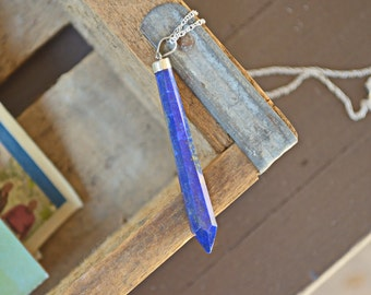 Lapis lazuli necklace - sterling silver - crystal necklace - blue - natural stone - lapis lazuli pendant - crystal jewelry