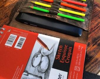 Handmade leather sketchbooks, World travel journal, Drawing notebook, Art sketchbook, Leather journal pen holder, Sketchbook travel journal