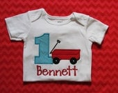 Boys, Little Red Wagon Birthday Shirt, Made to Match Personalized Invitation, You Design