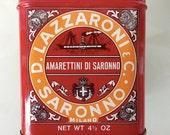 D. Lazzaroni Biscotti Red Rectangular Tin with Lid