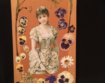 Mixed Media Collage - Real Pressed Flowers - Pansies - Woman - Altered Art  - Paper Ephemera - Queen Anne's Lace