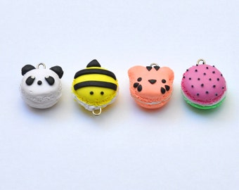Polymer Clay French Macaron Cookie Charm- Panda, Bumblebee, Tiger, Watermelon