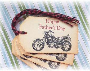 Fathers Day - Motorcycle- Gift/ Hang Tags (4) NEW