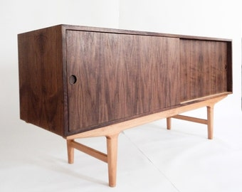"""60"""" Danish Modern Credenza Sideboard Media Console Cabinet / Custom Made / Handcrafted / Mid Century Inspired"""