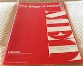 Vintage The Siege of Corinth Opera LIBRETTO MET Metropolitan Opera G. Schirmer 1974