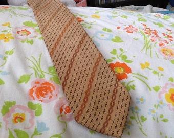Vintage LANDSMAN Tie Silk Tie Diagonal Stripes Tan Italian