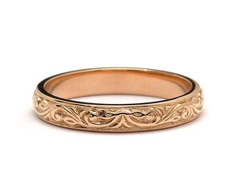 Hand Engraved Foliage Wedding Band Ring in Rose Gold