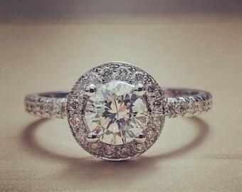 1 Carat Diamond Engagement Ring Halo Diamond Engagement Ring in 18k White Gold, Halo Engagement Ring, Unique Engagement Ring