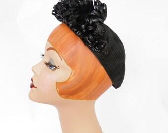 Vintage 1940s black hat, WW2 era,  New York Creation, excellent