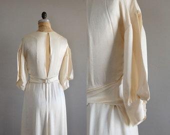 SILK WEDDING DRESS / 1930s wedding dress / 30s dress / bias silk