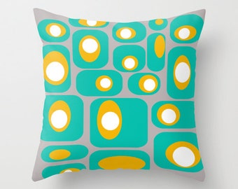 Cool Throw Pillow,  Modern Geometric Throw Pillow,  Teal  Throw Pillow, Mid Century Modern Pillow,  Modern Throw Pillow, Retro Throw Pillow