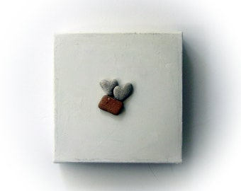 Genuine Heart Rocks - Unique Personalized Gift - Unique Birthday Gift for Her - heart shaped beach rock on canvas. Ready to hang - S23