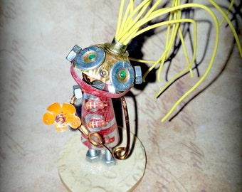 Flo-Bot. Tin robot Hand made recycled robot from Tinktopia, mixed media, unusual gift smash robot retro robot