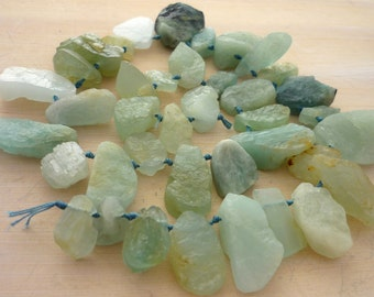 Hammer faceted aquamarine briolette beads 10-20mm full strand