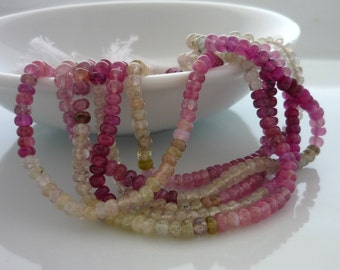 Pink & white sapphire smooth polished rondelle beads 3-4mm 1/2 strand