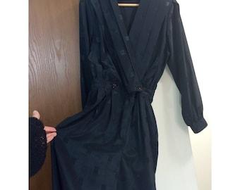 Vintage 80s SK & Company Dress Jumpsuit / Black Long Sleeve Romper / Size 8