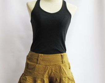 P3, Yellow Brown Summer Sea Beach Cotton Skorts, Yellow Brown shorts