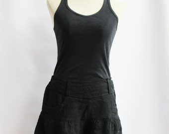P3, Black Summer Sea Beach Cotton Skorts, Black shorts