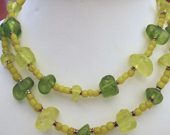 Green Sea Glass Two-Strand Necklace Handmade