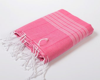 light cotton peshtemal, turkish towel, beach towel, soft cotton, naturel cotton, bath, beach, yoga, deep pink white striped towel