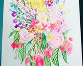 Colorful  tropical floral watercolor . Beautiful colorful piece of art for your home in bright colors