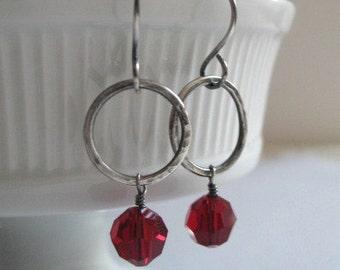 Red Earrings Sterling Silver Jewelry Hoops Swarovski Crystal Earrings Hammered Hoops
