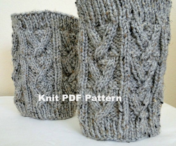 Pdf Knit Pattern Knit Boot Cuff Leg Warmers In Grey Broken Cable Stitch From Karensstitchnitch