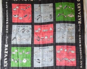 1960s HARPER'S BAZAAR 9 Day Wonder Diet Handkerchief MINT