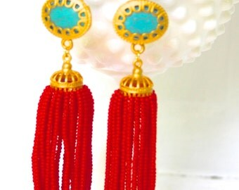 Red Tassel Earrings Turquoise Stone Gold Plated Scalloped Drop Dangle Earrings -  Wedding, Beach, Bridal, Preppy