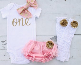 """Baby Girl 1st Birthday Outfit Cake Smash Set of 3 Items Gold """"one"""" or """"1"""" & Bow Bodysuit, Lace Bloomers Diaper Cover Rose Ruffle Leg Warmers"""