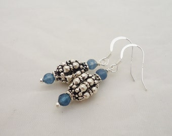 Blue Crystal and Silver Tube Earrings, Blue Earrings, Charm Earrings, Gemstone Earrings