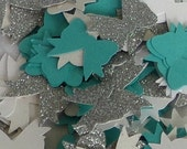 150 ct Something Blue, White, and Silver Glitter Bow Confetti Party Decor Table Decorations
