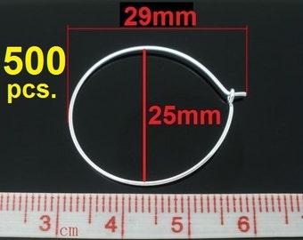500 Silver Plated Wine Charm/Earwire Hoop Rings - 25mm - 1 inch - 21Gauge