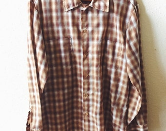 Vintage, 1970s, JCPenney, Long Sleeve, Mens, Brown, Plaid, Cotton, Dress Shirt, Size Medium