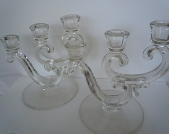 Vintage Crystal Pair Fostoria Triple Candleholders Century Pattern Clear Glass Candlesticks