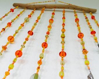 Orange, Yellow & Red Beaded Hanging Mobile, Hanging Mobile, Beaded Hanging Mobile, Bead Mobile, Sunset Beaded Mobile, Sunset Mobile, Mobile