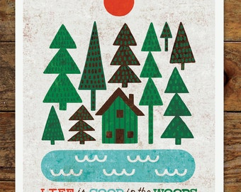 8x10 Happy Camper, Cabin, Life is Good, Woods, Forest, Nature, Art Print, Vintage, Retro