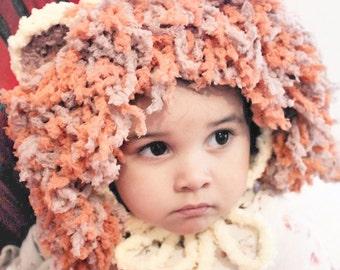 SUMMER SALE 5T to Teen Lion Hat, Lion Mane Bonnet, Kids Crochet Hat, Lion Costume, Animal Hat, Lion Childrens Hat, Lion Photo Prop