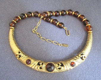 1928 Jewelry Company Metal Bib Necklace, amber color beads, signed jewelry, metal and bead