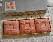 Reserved 3 Lucien LeLong CARNATION GUEST SOAPS Vintage 1930s Boxed Set Deep Rose Color, Scented Original Box, Powder Room Pretty or Guy