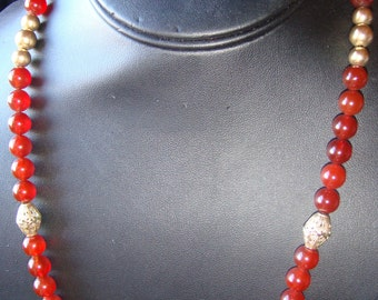 Carnelian and Gold Bead Necklace