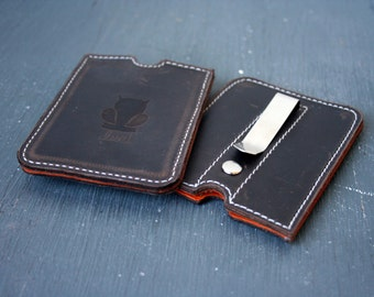 Minimal Clip Wallet- Front Pocket Clip Wallet- money clip wallet- simple clip wallet- leather clip wallet- leather card wallet