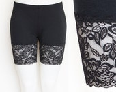 Lace Bike Shorts Black Bamboo