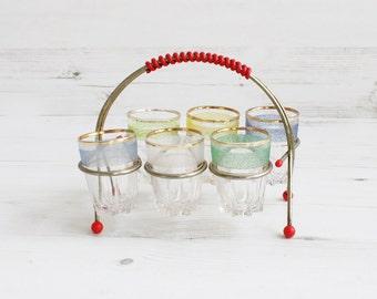 Vintage Wire Holster and Shot Glasses - Holder Gold Red Serving Drinking Glassware Barware