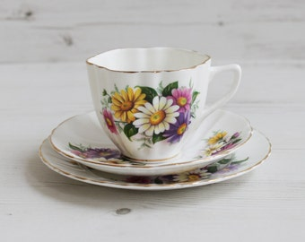 Vintage Staffordshire Trio Teacup set - Bone China Afternoon Tea Cake Serving Drink Cup display