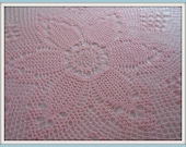 Hand crocheted tulip pink and pineapple tablecloth - READY TO SHIP