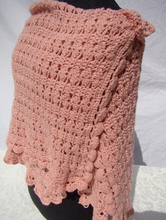 Teaberry rose hand crocheted shawl with fan stitching and scallop edging-READY TO SHIP