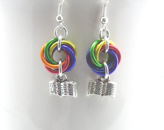 ON SALE Reading Rainbow Chainmaille Earrings