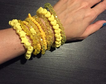 9 Bracelet YELLOW Color Bundle